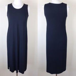 Eileen Fisher Black Modal Midi Jersey Dress PS